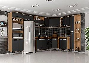 Armário de Cozinha Poquema Bruna 13 peças- Damasco/Preto
