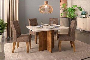 Mesa de jantar 4 cadeiras DJ Moveis Hera- Demolição/Off white com cadeira Eliz Carvalho Nobre/ Linho saara
