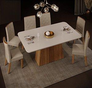 Mesa de jantar 6 cadeiras DJ Moveis  Itália - Off White/Carvalho Nobre com cadeira Elis  Carvalho Nobre/ Suede Areia
