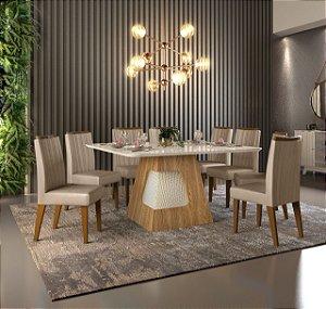 Mesa de jantar 8 cadeiras DJ Moveis Dala- Carvalho Nobre/ Off White com cadeira Elis Carvalho Nobre/ Suede Areia