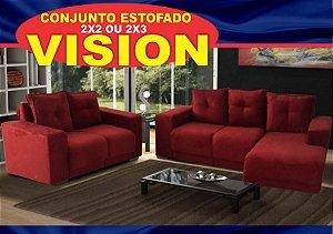 SOFA VISION RICKSA MOVEIS 2/2 LUGARES COM CHEISE