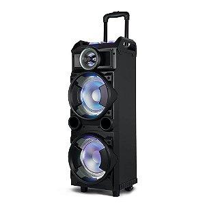 Caixa Amplificada Som Torre Double 8 Bt/Fm/Usb/Sd/Aux. Microfone 300W Preto -SP282