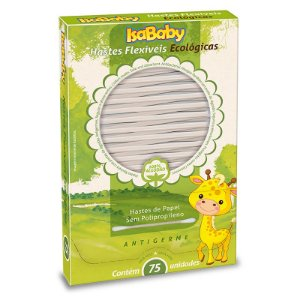 Hastes Flexíveis Ecológicas 75 unidades - IsaBaby