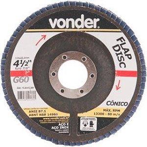 """Flap Disc Conico 4.1/2"""" C.Fibra Vonder"""