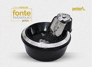 Fonte Bebedouro Premium Para Cães E Gatos 110v Preta e Prata - PETLON