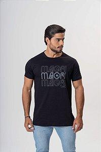 Camiseta Preta Maori Estampada