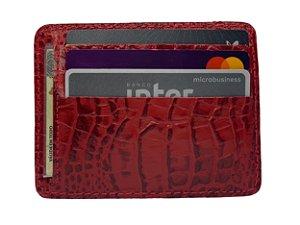 Carteira Porta Cartão Couro Compacta Vermelha