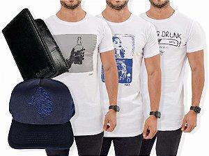 Kit 3 Camisetas Estampadas + Carteira Slim + Boné