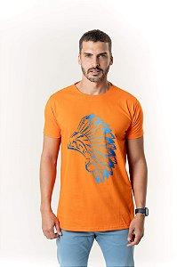 Camiseta Laranja Maori Cocar Azul