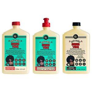 COMBO Meu Cacho Minha Vida CUIDADOS DIÁRIOS - Shampoo Hidratante 500ml + Condicionador 500g + Creme de Pentear Memorizador de Cachos 500g - Lola Cosmetics
