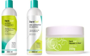 COMBO DevaCurl TRATAMENTO DECADENCE - No Poo Decadence 355ml + One Condition Decadence 355ml + Heaven in Hair 250g