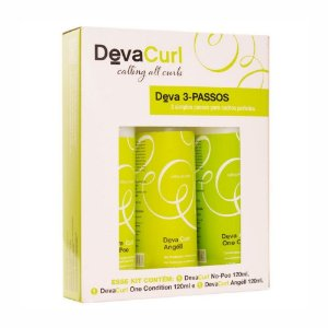 DevaCurl Kit 3 Passos - No Poo 120ml + One Condition 120ml + Angéll 120ml