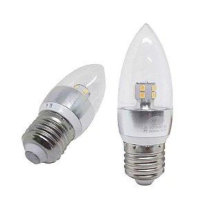 Lâmpada Led Vela 3w E27 Cristal Branco Quente 110-220v (Lustres)
