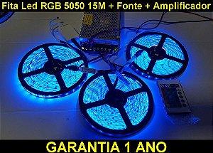 Fita Led Rgb 5050 15m Com Fonte De 15a + Amplificador + P4