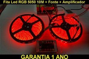 Fita Led Rgb 5050 10m Com Fonte 10a + Amplificador + P4