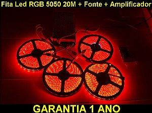 Fita Led Rgb 5050 20m Com Fonte De 20A + Amplificador + P4