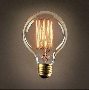 Lâmpada Filamento de Carbono 40w 110v E27 G80 Retrô