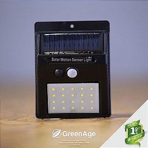 Luminária Solar 20 Leds Com Sensor De Presença E Movimento Preta