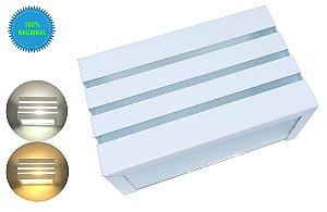 Arandela De Parede E Muro Externa Retangular 3 Frisos Branca + Lâmpada Led