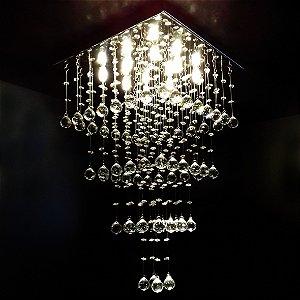 Lustre de Cristal quadrado quatro cubos 40x40cm + Lâmpada Led