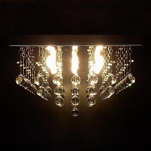 Lustre de Cristal quadrado pirâmide curta 40x40cm + Lâmpada Led