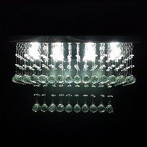 Lustre de Cristal retangular cubo resaltado 50x25cm + Lâmpada Led