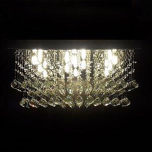 Lustre de Cristal quadrado cubos em camadas 50x50cm + Lâmpada Led
