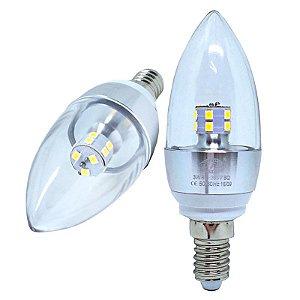 Lâmpada Led Vela 3W E14 Cristal Branco Quente e Frio 110-220V