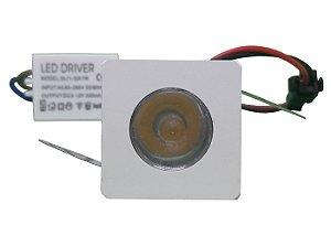 Mini Spot Led Dicróica 1W Quadrado Branco Frio e Quente 110-220V