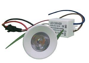 Mini Spot Led Dicróica 1W Redondo Branco Frio e Quente 110-220V
