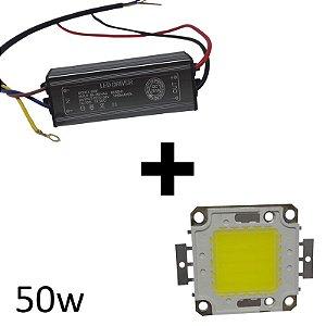 Chip + reator driver 50w reposição refletor led Branco frio e quente