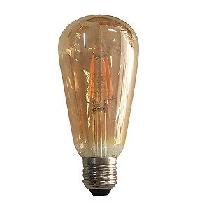 Lâmpada Filamento em LED 4w St64 Vidro Âmbar E27 Retrô - Bivolt