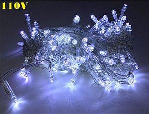 Pisca Led de Natal Branco Frio Luz Fixa 10m 110v 100leds