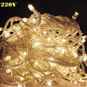 Pisca Led de natal Branco Quente Luz Fixa 10m 220v 100leds