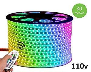 Fita Mangueira Led 5050 RGB 30m 110V Ip68 + 10 Fontes com controle