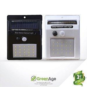 Luminária Solar 20 Leds Com Sensor De Presença E Movimento Preta e Branca