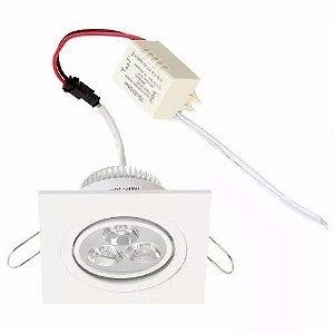 Lâmpada Led Spot Direcional 3w Branco Frio e Branco Quente Quadrado - Alum Branco