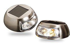 Luminária Balizador Led Solar Inox Piso Parede Amarelo 2 unidades