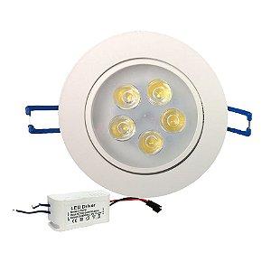 Lâmpada Super Led Spot Redondo 5w Dicróica Branco Quente e Frio - Alum Branco e Prata