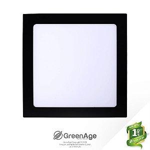 Plafon Led Embutir Quadrado 18w Branco Neutro e Frio Preto 110-220v