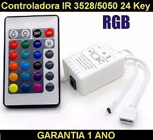 Controladora Ir Fita Led Rgb 3528 E 5050 + Controle 24 Tecla