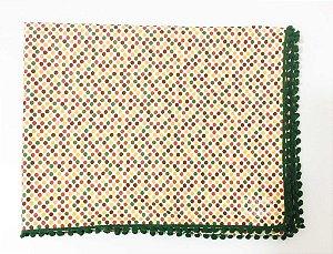 Toalha de mesa poás - pompom verde