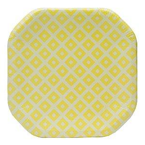 Prato de papel geométrico Amarelo - 21cm (8 unidades)