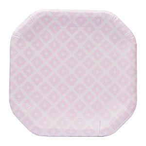 Prato de papel geométrico Rosa - 21cm (8 unidades)