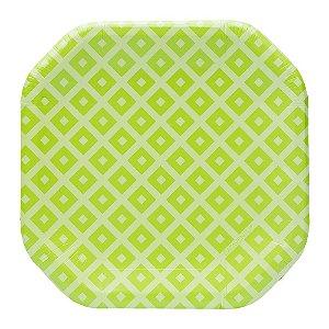 Prato de papel geométrico Verde - 21cm (8 unidades)
