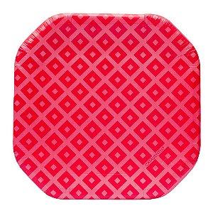 Prato de papel vermelho cereja - 21cm (8 unidades)