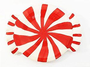 Pratinho de cerâmica estampa bala/pirulito - 17.5x14cm