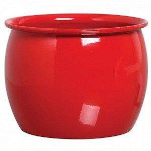 Cachepot redondo caldeirão vermelho - 17cm A x 22 cm D