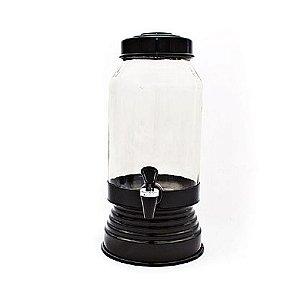 Suqueira de vidro com torneira (preta) - 3,250 ml