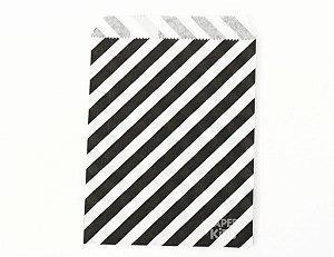 Saquinho de papel listras - Preto 13x18 cm (10 unidades)